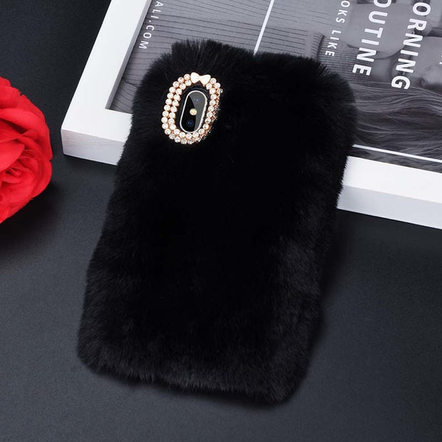 Faux Rabbit Fur Phone Case for iphone 8 7 6 6S Plus Luxury Bling Plush Furry Cover For iPhone X XS Max XR 5 5S SE Funda