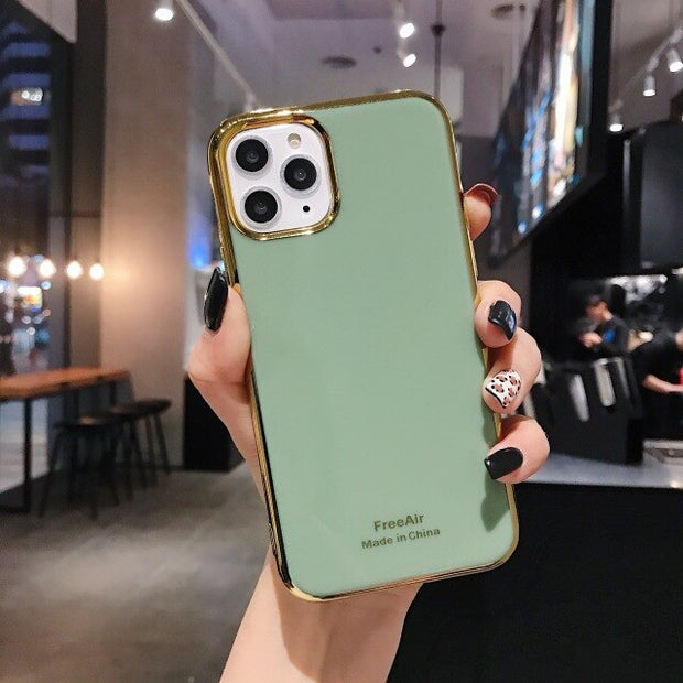 Luxury Green i Phone Case on For iPhone 6 6S Plus 7 8 Plus Coque plating Soft Cover Case For iPhone X XR XS Max 11 Pro MAX Funda
