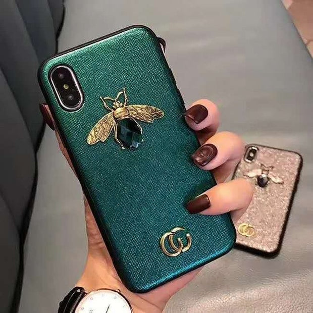 uxury 3D Bee Phone Case for iphone XS XR MAX TPU Fashion Printed Designer Womens Protective Cover