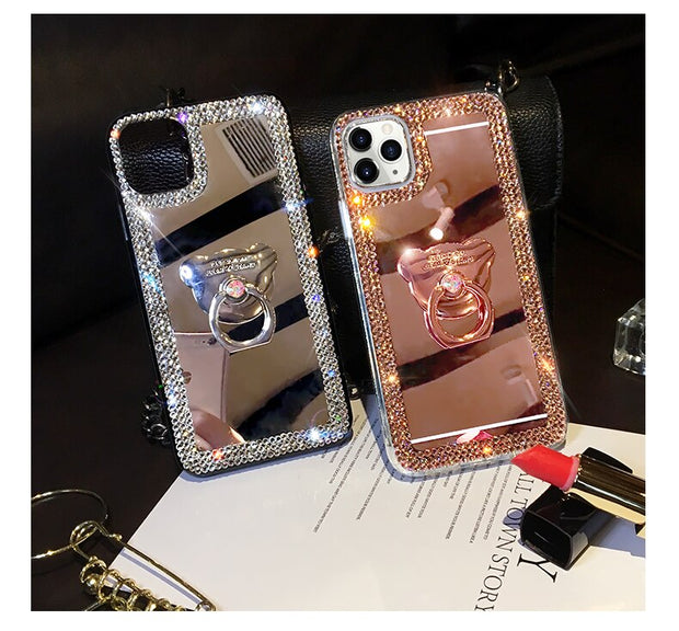 Rose Gold Crystal Mirror Phone Case-The Mobi World