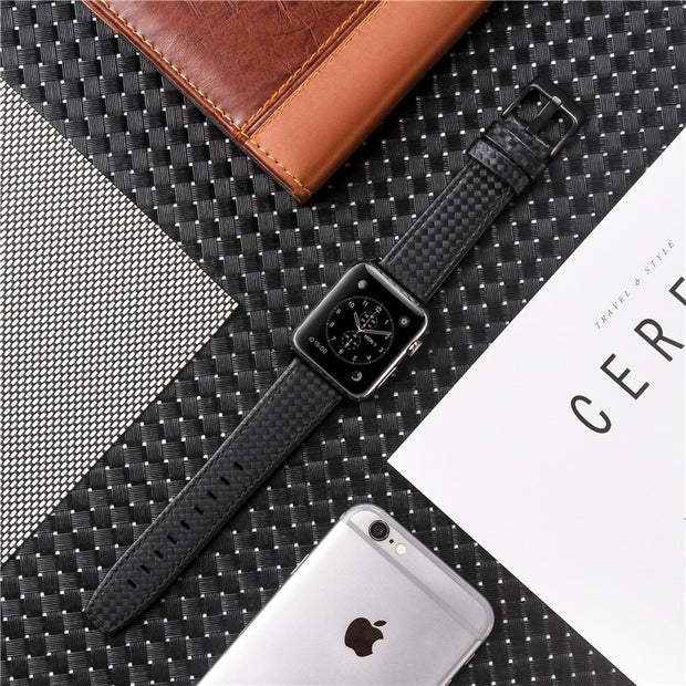 Genuine Leather Carbon Fiber Strap For Apple Watch-The Mobi World