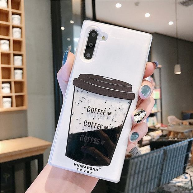 Coffee Cup Liquid Quicksand Silicone Case-The Mobi World
