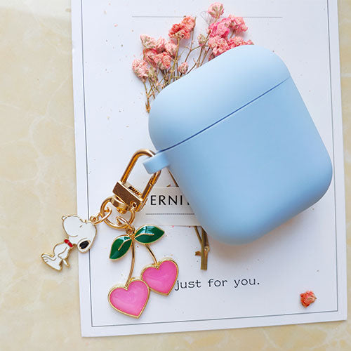 Cute Korean Silicone Case w/ Cherry Dog KeyRing-The Mobi World