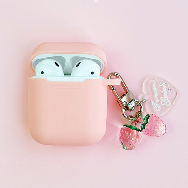 Cute Korean Silicone Case w/ Strawberry KeyRing-The Mobi World