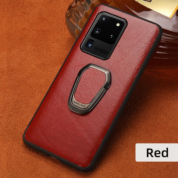 Oil Wax leather Ring Magnetic Phone Case-The Mobi World