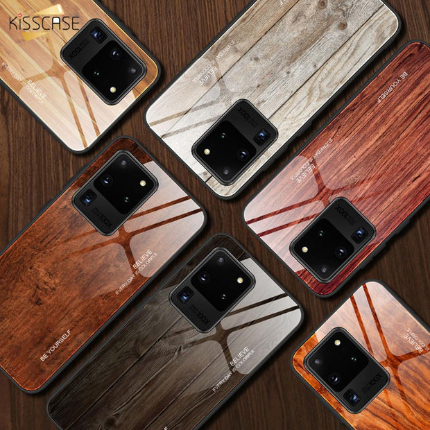 KISSCASE Wood Grain Tempered Glass Phone Case-The Mobi World