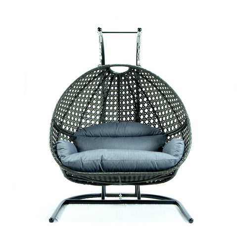 Modern Charcoal Wicker - Modular Double Hanging Chair - HangingComfort