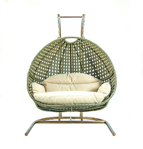 Modern Green Wicker - Modular Double Hanging Chair - HangingComfort