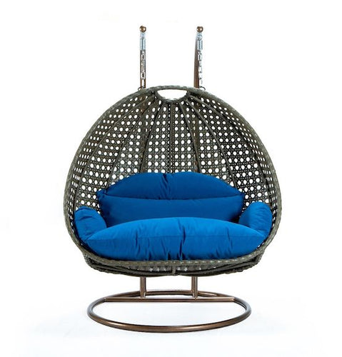 Modern Beige Wicker - Double Hanging Chair - HangingComfort