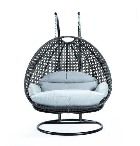 Modern Charcoal Wicker - Double Hanging Chair - HangingComfort
