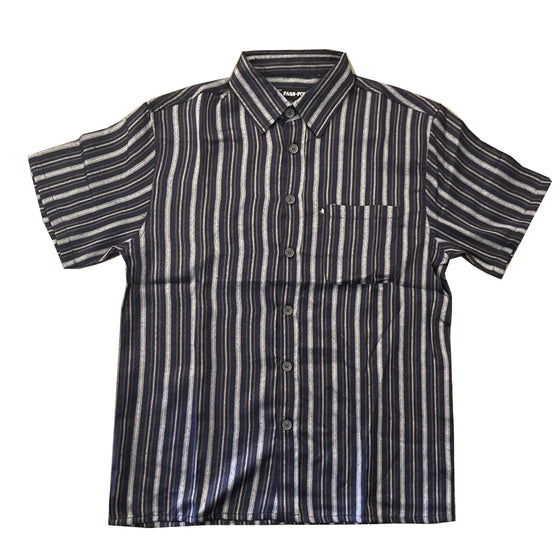 Passport Workers Stripes Shirt Navy - Large