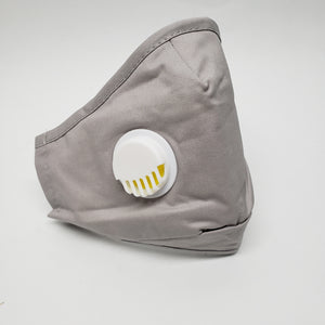 Gray washable Reusable mask with filter pocket . Comes with 5 disposable filters