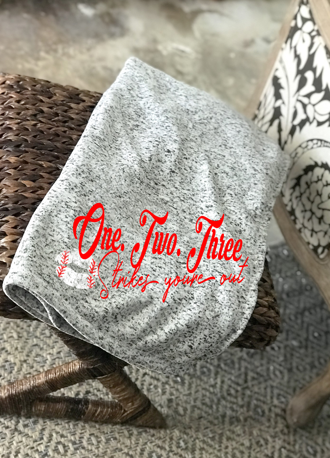 One Two Three Strikes Your Out- BLANKET 21 x 9