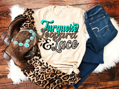 Turquoise Leopard and Lace