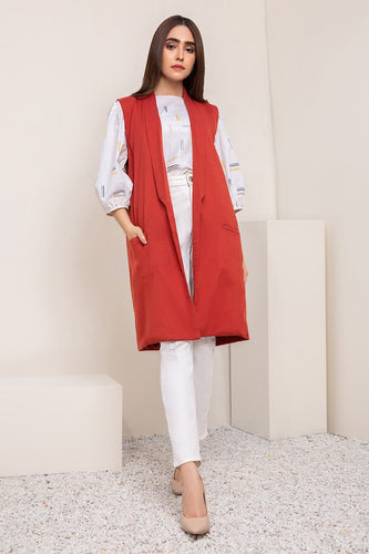 Terracotta Sleeveless Coat