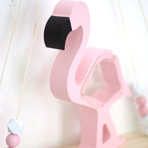 Tirelire Flamant Rose<br> Bois - Tirelire Store