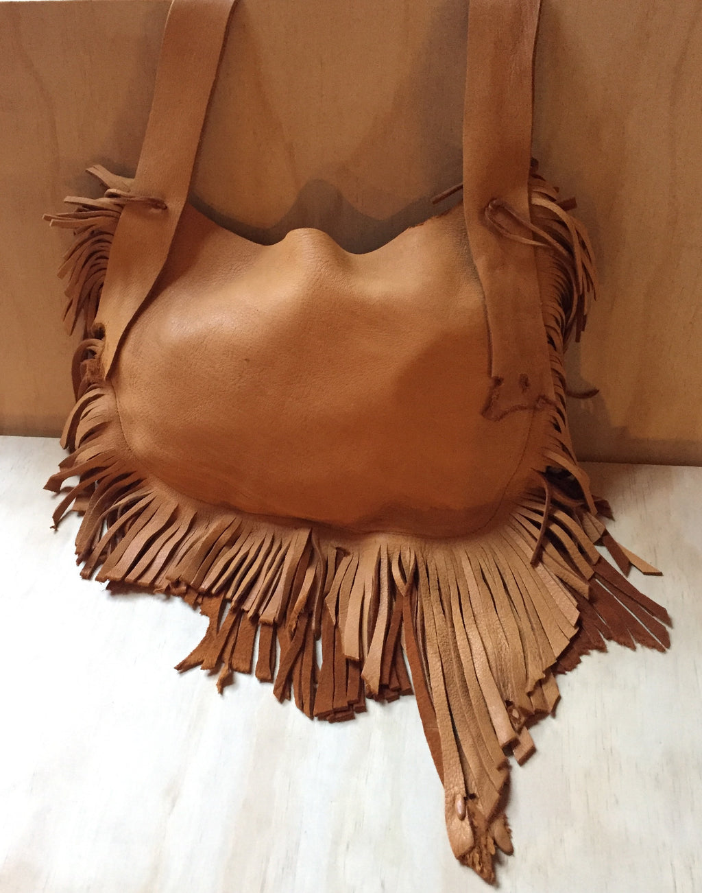 Acorn Deer leather fringe bag