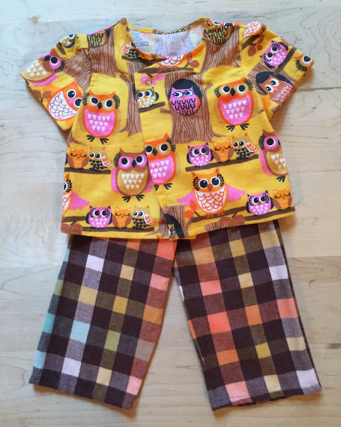 Owl and plaid set