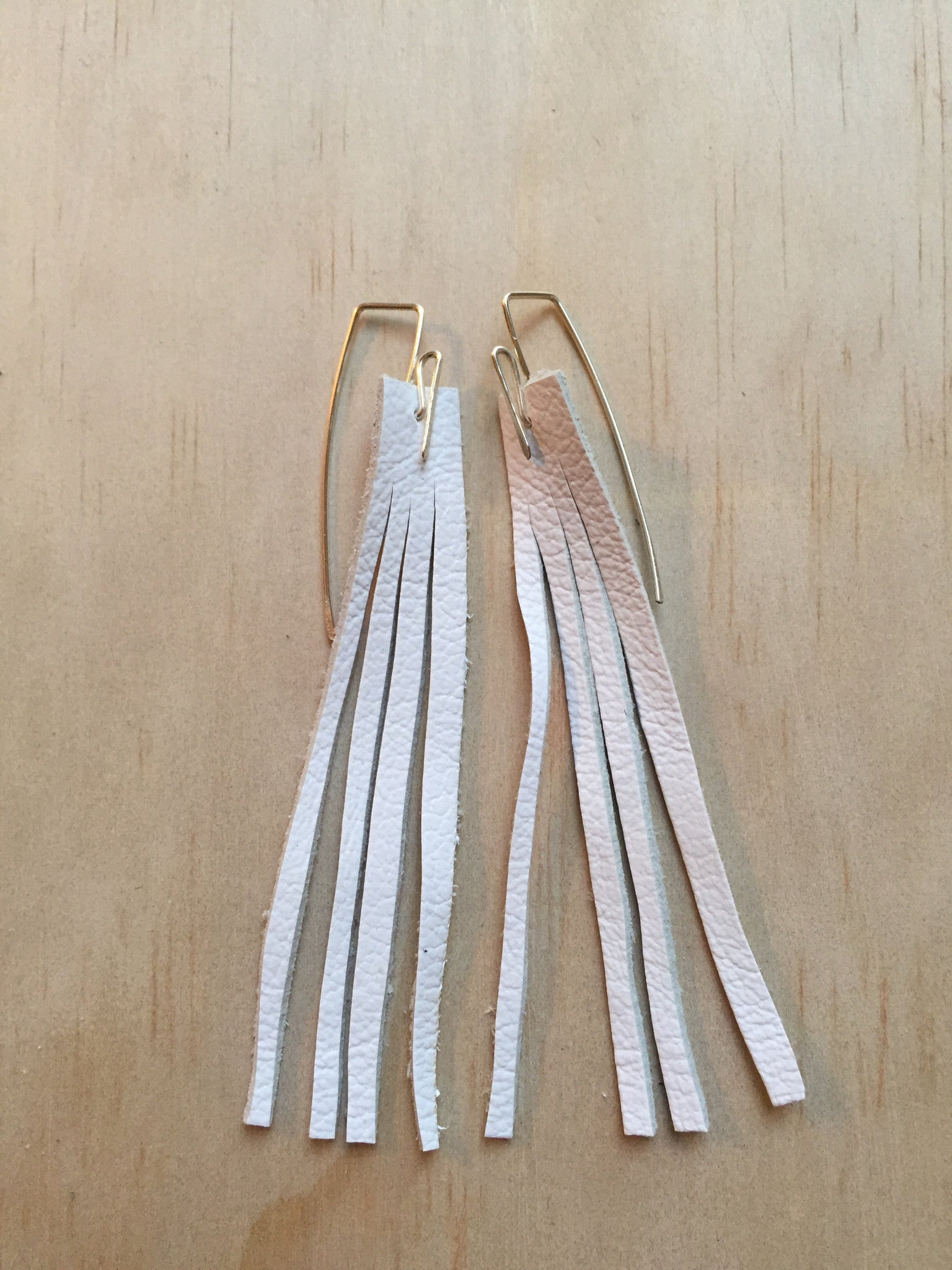 white elk fringe earrings
