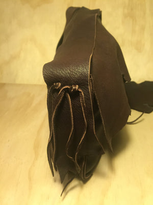 brown deer leather and copper bag