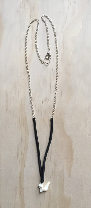coyote tooth and deer leather necklace