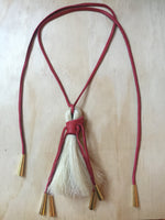 Horse hair necklace red & white