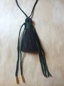 Horse hair necklace Green