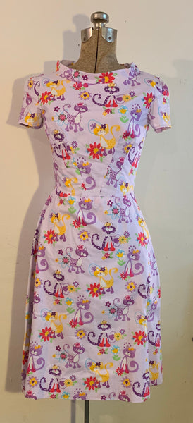 lavender cat dress with pocket