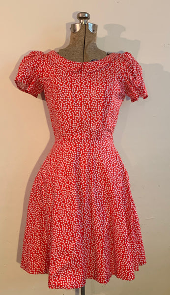 red and white poke-a-dot dress