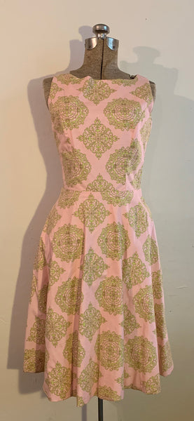 pink and green print dress