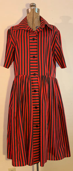 red and black stripe dress