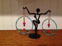 Gypsy Traveller Hoops, Turquoise and Red