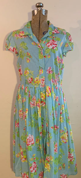 floral snap dress-light blue