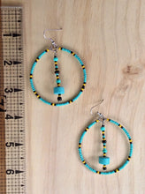Load image into Gallery viewer, Turquoise Pendulum Hoops
