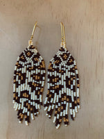 leopard beaded earrings