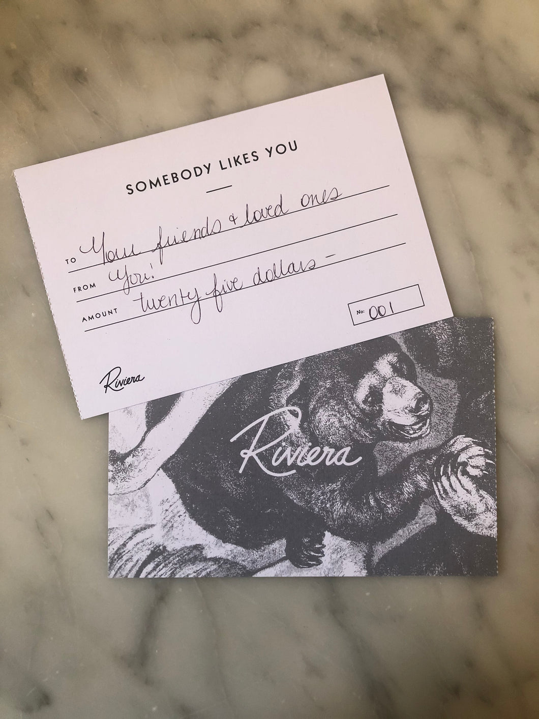 Riviera Gift Certificate - $25