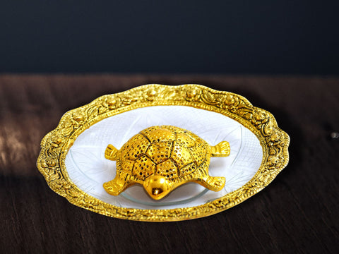 Golden Tortoise With Glass Plate