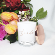 Load image into Gallery viewer, Special Occasion - White Personalise Candle with Rose Gold Lid