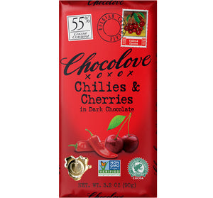 CHOCOLOVE BAR 55% DARK CHILIES & CHERRIES - Sweets and Geeks