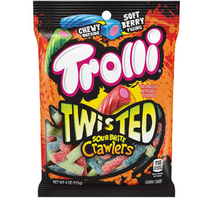 TROLLI TWISTED SOUR BRITE CRAWLERS PEG BAG - Sweets and Geeks
