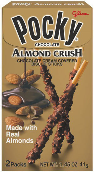 Glico Pocky: Chocolate Almond Crush 1.31 OZ - Sweets and Geeks
