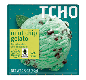 TCHO Chocolate Bar - Mint Chip Gelato - Dark - Sweets and Geeks