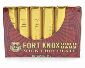 Fort Knox Mini Gold Milk Chocolate Bars (6 Pack) 2.96 OZ - Sweets and Geeks