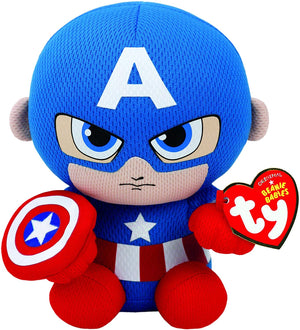 "Ty Marvel - Captain America 6"" Beanie Baby - Sweets and Geeks"