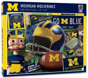 Michigan Wolverines Retro 500 Piece Jigsaw Puzzle - Sweets and Geeks