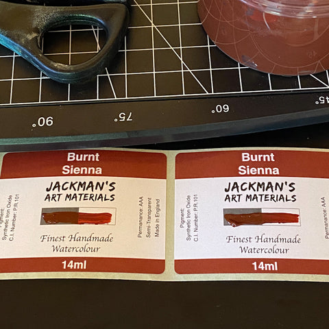 Jackman's Art Materials Burnt Sienna Label after painting on swatch