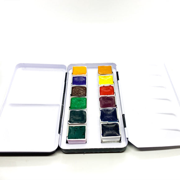 12 Professional Handmade Watercolour Half Pans In Artist Tin  - Jackman's Art Materials
