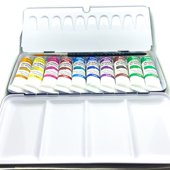 10 Professional Handmade Watercolour 14ml Tubes In Artist Tin With Size 8 Synthetic Round Brush Watercolour - Jackman's Art Materials