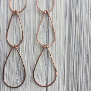 Rose Gold Waterfall Teardrop Earrings