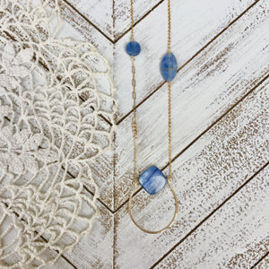 Handmade Kyanite and Gold Swing Necklace